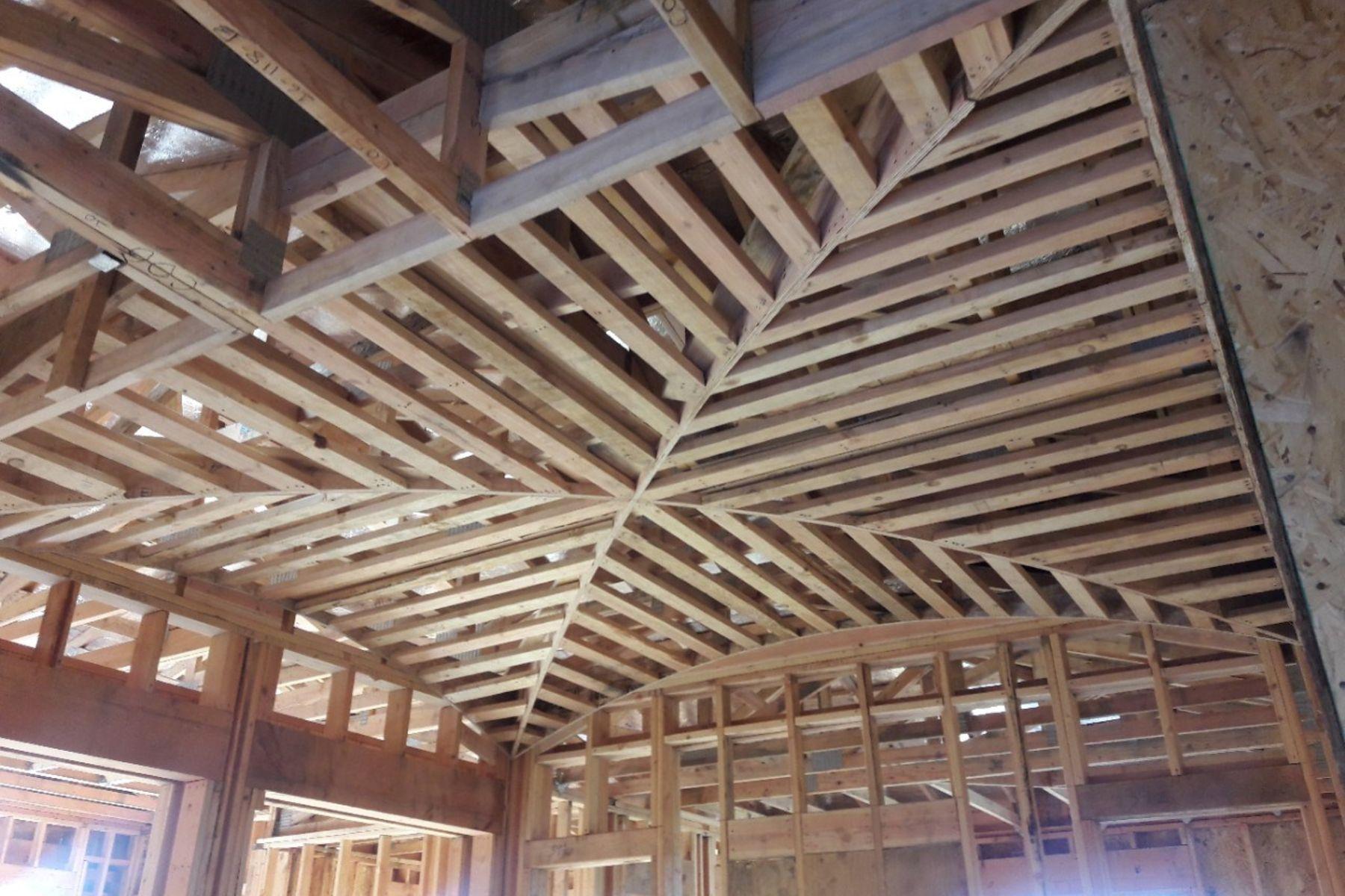 Folsom Custom Home - Groin ceiling at stairwell progress photo