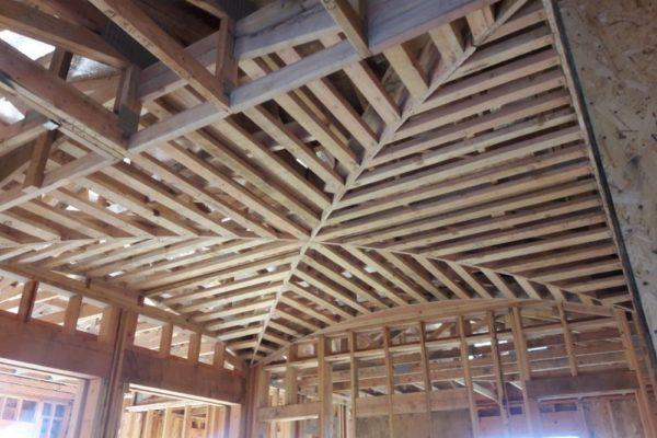 Folsom Custom Home - interior progress of groin ceiling at stairwell