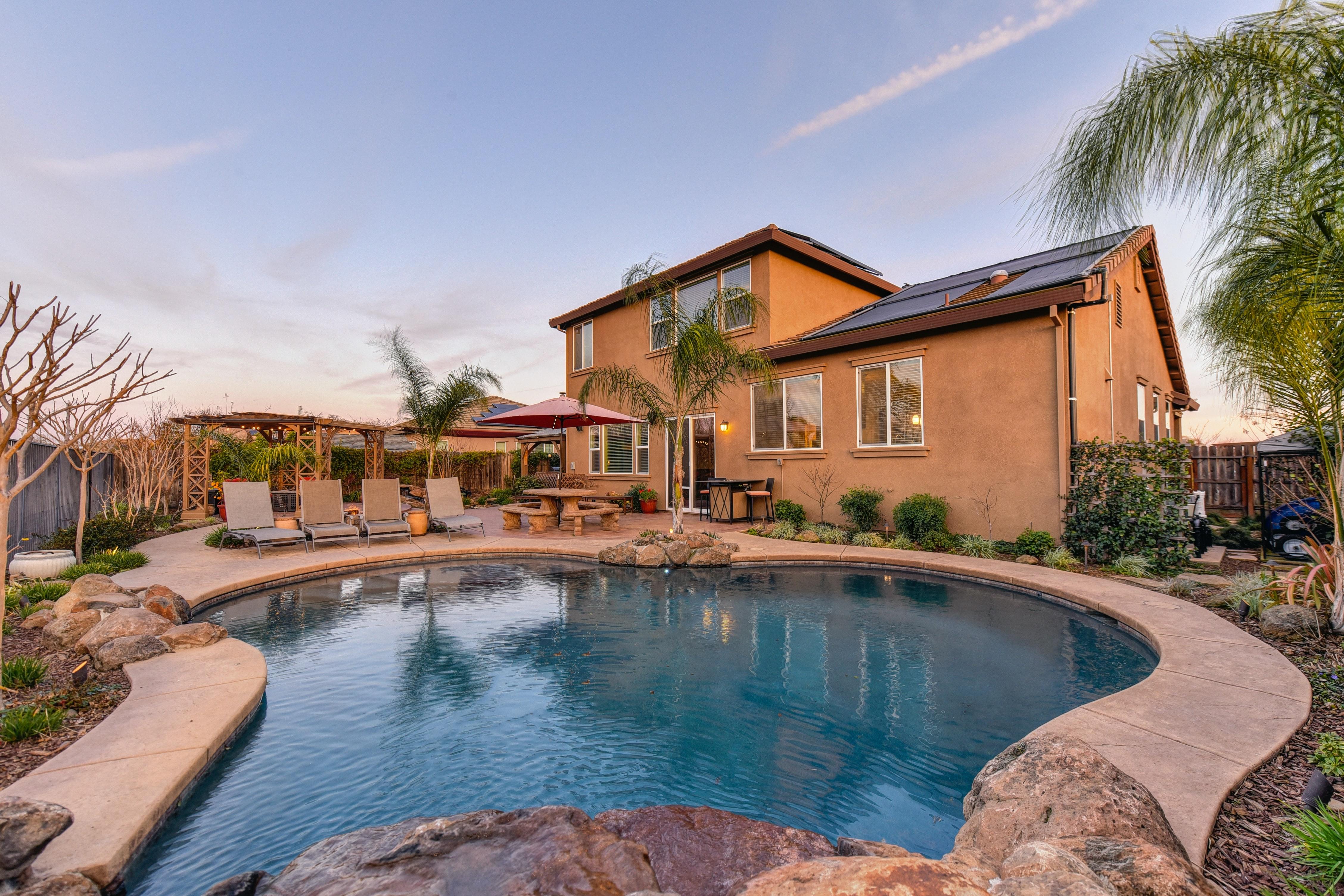 Custom Home - back yard and pool